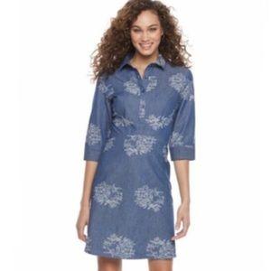 Nina Leonard Bird floral denim dress SZ 8 NWT